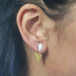 boucles d'oreilles modulables, feuilles d'or goutte