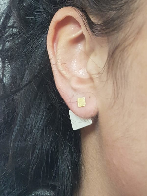 boucles d'oreilles modulables,carré brossé
