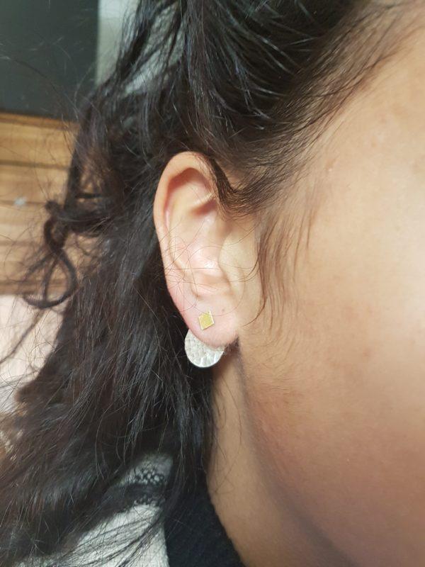 boucles d'oreilles modulables, rond martelé
