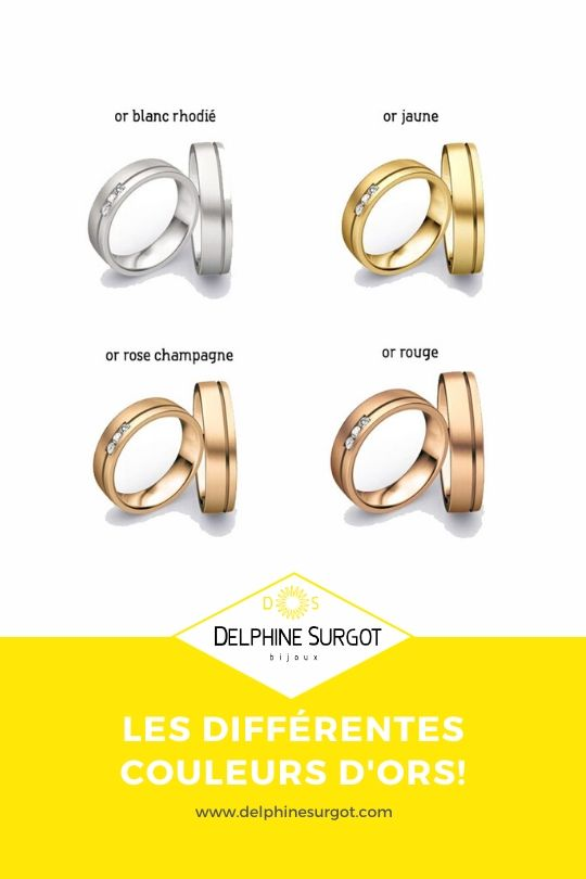 4 couleurs d'ors or blanc, or jaune or champagne et or rose